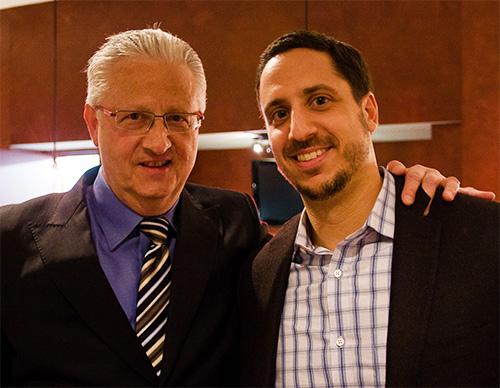 David Cooper (L) with his son Noah