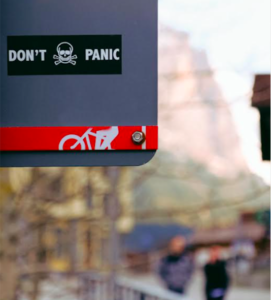 Don't Panic Sign on Street