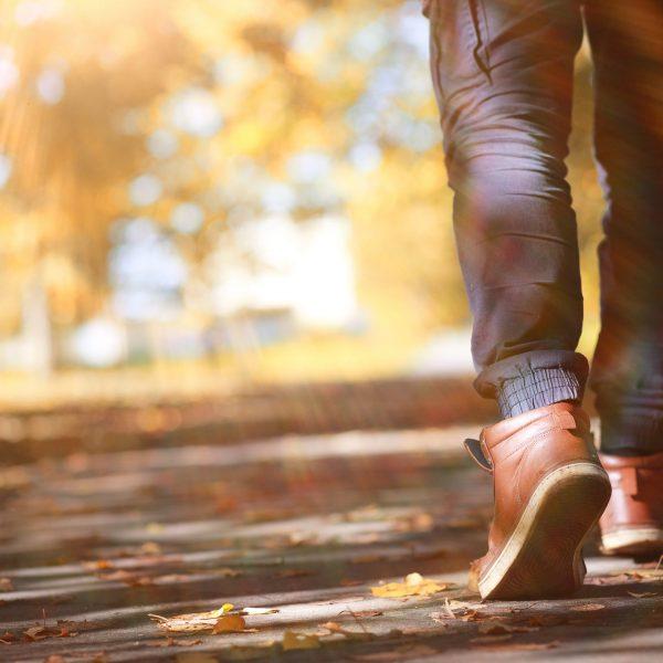 Autumn,Park,Man,Walking,Along,A,Path,Foliage